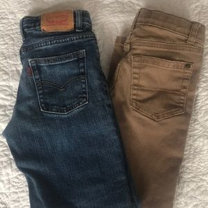 2 Pairs of Jeans, Levi's and Sonoma size 7 boys